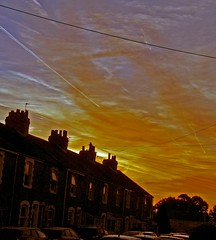 Planes above - wires below (Ben Grader) Tags: house cottage building roof tile window somerset clevedon wessex england wall walls sky night early plane lights terrace sony slta77 tamron