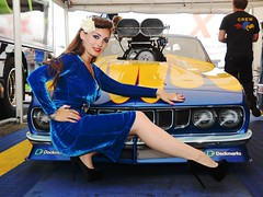 Holly_9660 (Fast an' Bulbous) Tags: blue velvet dress girl woman high heels stilettos shoes hot hotty sexy chick babe car vehicle automobile plymouth cuda muscle mopar promodified nikon d7100 gimp flash people racecar drag race strip track pits seamed stockings curves curvy engine blower supercharged produtch england eurofinals wow