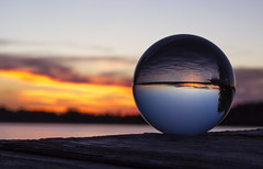(donna leitch) Tags: sunset lake water crystalball summer dock glass macro
