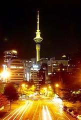 Sky Tower, Auckland at night. (Joshua Cas) Tags: auckland newzealand tz1 aotearoa skytower night longexposure