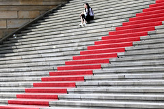 jewelry beside the red carpet (Wackelaugen) Tags: stairs stair staircase carper red redcarpet person girl gendarmenmarkt berlin germany canon eos photo photography wackelaugen googlies
