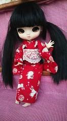 Sweet little Yoko... (Emily Emily!) Tags: yeolume custom customized faceup rewigged blackhair blackwig pigtails rechipped asianeyes browneyes pureneemoxs white rebodied kimono red bunnies cute tiny adorable miniature doll littlegirl japanesegirl yoko