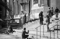 Relationships: Parts I - IV (mhoffman1) Tags: oony2016 nyc nypl sonyalpha a7r blackandwhite couples hugging monochrome public steps street streetphotography