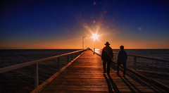 you light up the room (Bec .) Tags: youlightuptheroom adelaide southaustralia jetty pier people walking couple hat light bokeh grangebeach bec canon 80d 1022mm sunset
