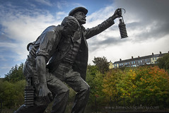 MINERS STATUE, SENGHENYDD, SOUTH WALES. (IMAGES OF WALES.... (TIMWOOD)) Tags: memorial remembrance tradgedy colliery mine senghenydd biggest mining tragedy uk britain explosion caerphilly south wales welsh history statue garden