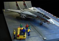 F-14A Tomcat & Deck Crew (crash_cramer) Tags: lego f14 f14a tomcat