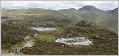 Twin-tarns. (stu.bloggs..Dont do Sundays) Tags: landscape lakedistrict lakeland haystacks innominatetarn tarns mountains mountain fells cumbria missus mrsbloggs scenic scenery scale rocks rockyoutcrops path pathway