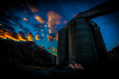 Early morning silos. (yeahwotever) Tags: apocalypse graffiti abandoned bunker concrete disused early lime mess oregon silo states structure sunrise tag tower usa i84