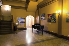 Hotel Lobby (Curtis Gregory Perry) Tags: cathlamet washington hotel lobby piano stairs steps light nikon d800e painting elevator yellow