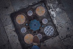 Sewer cap, Istanbul (Syahrel Azha Hashim) Tags: street unique sony 2016 shallow holiday shoes simple tiles details sewer a7ii design ilce7m2 dof place getaway handheld streetphotography colorimage vacation turkey light naturallight colorful travel syahrel 35mm sonya7 colors istanbul sewercap floor prime detail