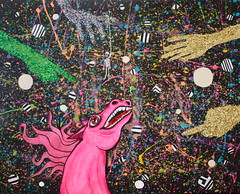 one horse apocalypse (carolinenospine0) Tags: pink horse art collage glitter silver gold weird mixed hands media neon apocalypse outerspace