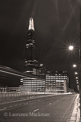 LondonBridge 036 E W BWS (laurencemackman) Tags: lighting longexposure bridge england london tower cars glass architecture modern night reflections londonbridge concrete photography lights twilight traffic piers architect historical elevation architects shard riverthames renzopiano span streamline londonbridgestation londonskyline broadwaymalyan theshard motthayandanderson lordholford