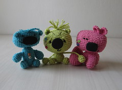 LIttle Giants Trio - OOAK artist bears (Soneekk) Tags: bear doll artist ooak crochet bjd marvel amigurumi meek sprockets glum