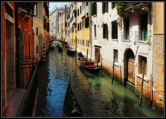 Venice canal (kev350d) Tags: reflections venice gondolas water boats decay italy waterway colours rustic