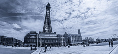 Blackpool Tower. (CWhatPhotos) Tags: tower blackpooltowerentertainment complex resort blue sky skies skys clear day blackpool lancs lancashire north sand beach sun light silhouette silhouetted silhouettes photographs photograph pics pictures pic picture image images foto fotos photography artistic cwhatphotos that have which with contain olympus omd em10 mk ii esystem four thirds digital camera lens olympusem10mkii sanyang 75mm 35 f35 fisheye fish eye samyang manual focus wide view 43 fit mft micro promenade comedy carpet blackpooltower