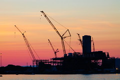 Steel Silhouette (BlueShift 12) Tags: powerplant construction crane sunset silhouette outline steel metal building new lines industrial massachusetts harbor waterfront