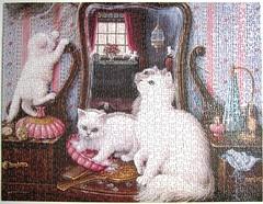 Purr-fect Reflection (Janet Kruskamp) (Leonisha) Tags: puzzle jigsawpuzzle cat chat katze cats kittens ktzchen
