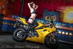 claire mc-39 (Trevor Matthews Photography) Tags: claire mcivor bike rock chick guitar motorbike suzuki daytona sexy girl hot naked nude topless trevor matthews suggestive speaker ibiza bar wigan model