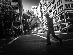 The Crosswalk Dash (TMimages PDX) Tags: iphoneography photography image photo photograph streetscene fineartphotography geotagged people urban city street streetphotography portland pacificnorthwest sidewalk pedestrians buildings avenue road blackandwhite monochrome vignette