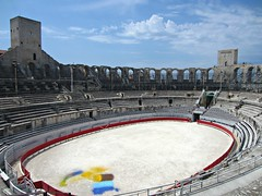 Arles Amphitheatre (AmyEAnderson) Tags: outdoor coliseum sporting oval historic architecture limestone roman romanesque arles france provence bouchesdurhone seats bleachers towers sky clouds ring unesco