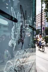 Aoyama street (Yorkey&Rin) Tags: 2016 aoyama bicycle building em5 francfranc japan lumixg20f17 olympus people reflection rin september summer t9021982 tokyo