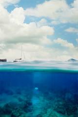 Sail (sowenderful) Tags: boat boats sailing sail snorkel maui hawaii blue water ocean underwater underwaterphotography coral oceanbottom oceanfloor light sun clouds green white