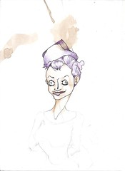 (splinter one) Tags: dessin drawing illustration croquis sketch encre ink color couleur tache stain caf coffee personnage character femme woman folle folie mad madness crazy camisole de force straitjacket peigne afro comb purple artwork splinter86