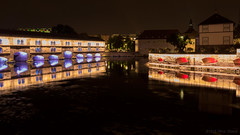 I fell in love with the colors (OR_U) Tags: 2016 oru france strasbourg riverill barragevauban le longexposure night nightlights nightphotography bridge water architecture reflection mirror red blue lightinmstallation 169 widescreen