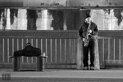 The Water Table Case (Ian Sane) Tags: park street bridge musician white man black water tom oregon river portland table ian photography downtown waterfront candid images case player governor underneath morrison performer sax saxophone willamette sane mccall the
