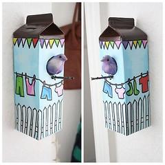 Reciclagem fofa! (Jessica Santin (Jehhhhh)) Tags: house como bird idea diy casa milk box passarinho caixa reciclagem decorao fazer voc mesma leite