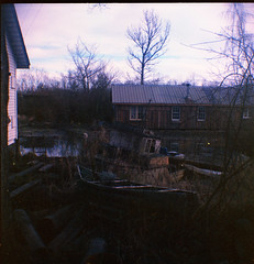 Grandpa's boat (Beaulawrence) Tags: camera old canada color colour 6x6 film vancouver analog vintage square lens toy boat site spring lomo fishing lomography village bc kodak box antique grain vessel columbia richmond scan historic retro squat plastic negative ii april brownie british hawkeye 1983 finn expired slough cheap apr 2012 c41 fantatic vericolor sooc