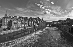 Durham City, the River Wear. (CWhatPhotos) Tags: city sky cloud white fish black eye water monochrome clouds canon river that lens prime photo focus skies foto durham with view angle image photos pics wide over pic images wear fisheye have photographs photograph fotos manual which contain 65mm aspherical opteka primelens