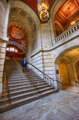 NYC Library (Mike_Valera) Tags: nyc stairs person library canon20d 1022mm hdr