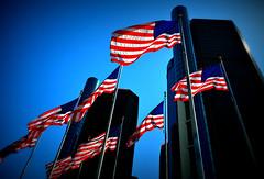 The American Legacy (Yohsuke_NIKON_Japan) Tags: city usa mi america nikon gm michigan detroit bluesky vignette usflag zoomlens generalmotors 1635mm nanocrystalcoat d3100 picmonkey