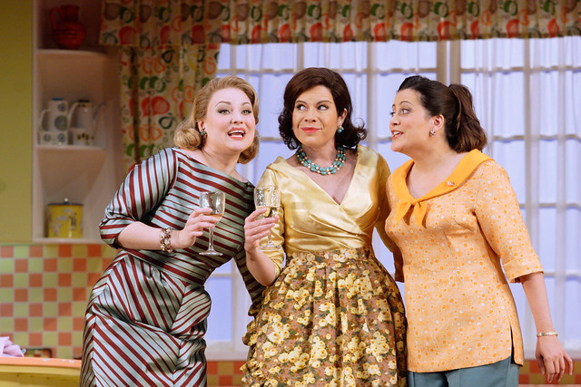 Kai Rüütel as Meg Page, Ana María Martínez as Alice Ford and Amanda Forsythe as Nannetta in Falstaff © ROH/Catherine Ashmore, 2012
