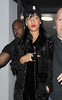 .Rihanna leaving Boujis nightclub in Kensington at 3.15am, wearing a black beanie hat and a black lace bodysuit, showing her black underwear underneath. Rihanna had tweeted a message to her 19.1 million followers on Sunday Afternoon, saying that she would not be having anymore big nights out for a while, having woken up drunk in the morning