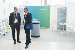 Delegates chat at the UIC stand