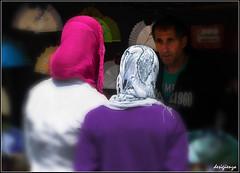 Entre Tres.............. / Among Three................. 134-366. (Sigenza) Tags: people man color colour art composition portraits interesting nikon scenery arte gente perspective streetphotography retratos ojos contraste creatives mirada interesante encuadre creativas abanicos nikond60 hiyab desenfoqueselectivo puestoscallejeros desigenza catchingpeople photographinpeople