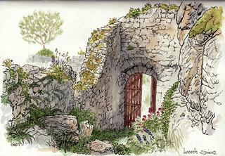 Luzech, accés Donjon