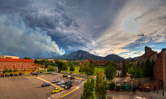 Flatirons on Fire (Zach Dischner) Tags: sky panorama mountains field clouds canon landscape fire eos intense scary colorado university flat smoke dramatic boulder flagstaff 7d smokey scape epic hdr wildfire irons tamron1750 flagstafffire buiseness canon7d