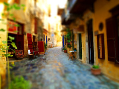 Old Town Chania (Xrisindustrial) Tags: road old houses buildings town miniature shift greece crete tilt effect diorama chania