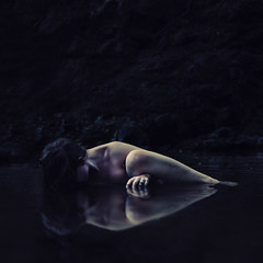 emergence and disturbances (brookeshaden) Tags: selfportrait reflection water creek river pond rocks select fineartphotography darkart brookeshaden
