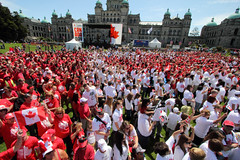 Living Canadian Flag 2012 (Professional Recreationalist) Tags: poverty canada island living day bc britishcolumbia flag homeless victoria drop celebration vancouverisland human oil brucedean professionalrecreationalist grannies raging raginggrannies socialcoastorg socialcoast