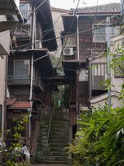 階段の長屋 (kasa51) Tags: building japan lumix tokyo alley panasonic tenement 門 路地 小路 gf1 長屋 本郷 菊坂下 三階建て gvario1445mmf3556 樋口一葉旧居跡奥