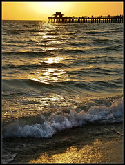 Naples Fishing Pier (Scramble4_Imaging) Tags: sunset sea sun beach gulfofmexico pier fishing waves florida naples gulfcoast municipalbeach