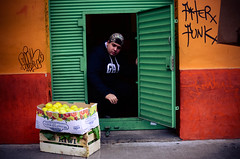 delivery (aya mac) Tags: street door portrait man color colour argentina look shop fruit buenosaires candid streetphotography delivery