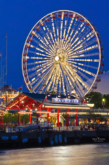 Chicago Navy Pier Fairy Wheel (DaisyYeung) Tags: city trip travel blue light vacation sky urban usa chicago wheel architecture night landscape photography pier illinois nikon colorful long exposure time navy il fairy daisy nikkor 70300mm yeung twlight d7000 daisyyeung daisyeung
