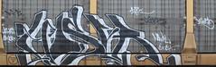 Hoser (Skyline Crony) Tags: white black graffiti paint caps piece freight hoser autorack