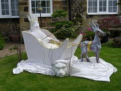 Narnia scarecrow (Nekoglyph) Tags: summer festival garden reindeer witch yorkshire lion narnia whip wardrobe sled sleigh aslan scarecrows snowqueen hinderwell