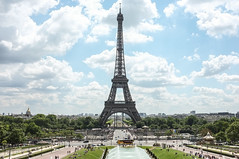 La Tour Eiffel (Adam Haranghy) Tags: city sky paris france green tower tourism grass skyline clouds frankreich tour himmel wolken eiffel stadt eiffelturm ville tourismus tourisme